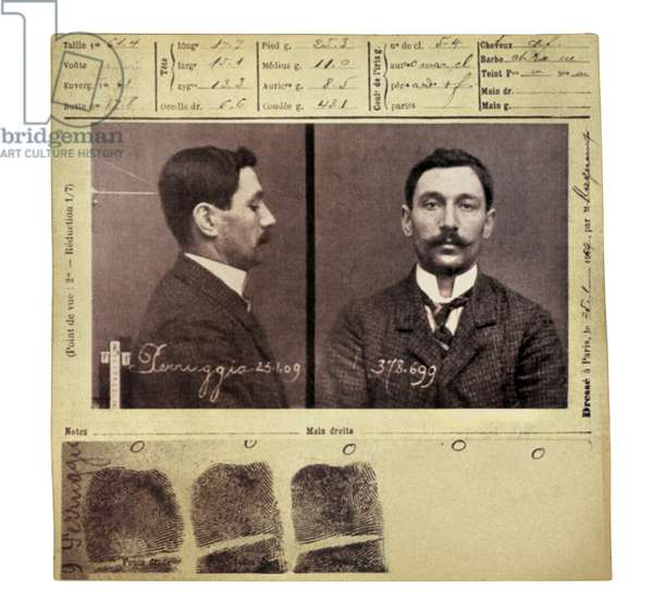 Anthropometric index card of Vincenzo Peruggia, Italian painter who stole the Mona Lisa from the Louvre on August 21, 1911, c.1913 (b/w photo)