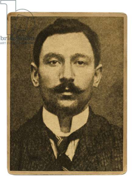 Mug shot of Vincenzo Peruggia, Italian painter who stole the Mona Lisa from the Louvre on August 21, 1911, c.1913 (b/w photo)