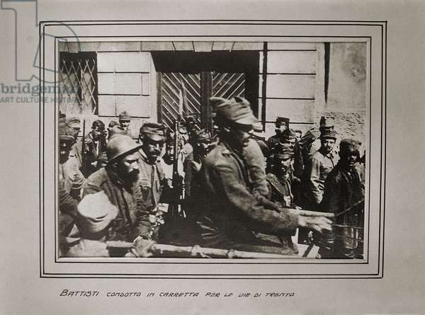 Cesare Battisti led to his execution, Trento, Italy, 1916 (b/w photo)
