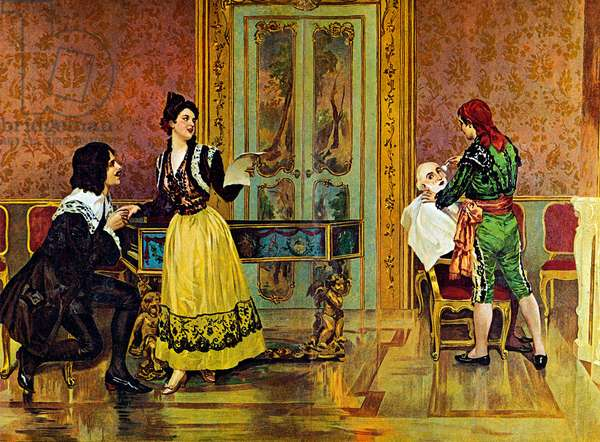 Scene from the opera 'The Barber of Seville', by Gioachino Rossini (colour litho)