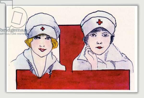 Postcard depicting caps for Italian Red Cross Nurses, Italy, 1916