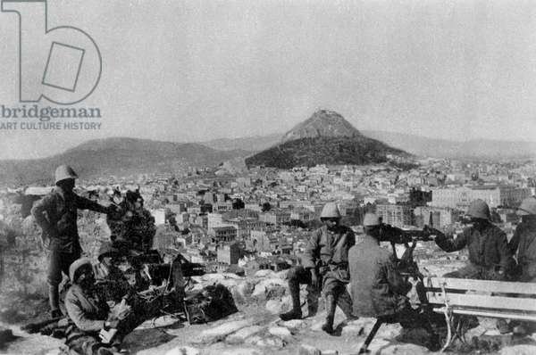 French Forces occupying the Acropolis of Athens, Greece, 1917 (b/w photo)