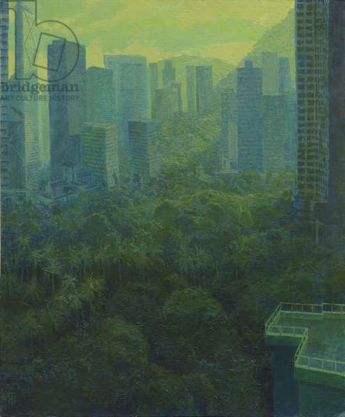 View from Mid Levels over the Botanical Gardens, 2019 (oil on linen)