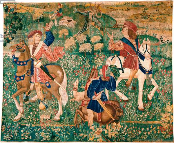 French master Falconry - Scene Wool, handwoven c. 1500 Thyssen-Bornemisza Collections 278x349
