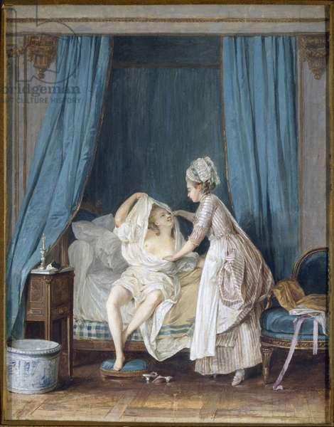 Dame sortant du lit - Lady Getting out of Bed, by Lafrensen, Niclas (Nicolas Lavreince) (1737-1807). Gouache on paper, 1776. Dimension : 25x20 cm. Nationalmuseum Stockholm