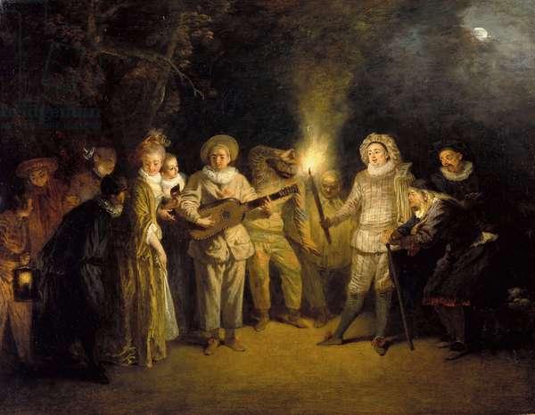 The Italian Comedy - Peinture de Jean Antoine (Jean-Antoine) Watteau(1684-1721), after 1716 - Oil on canvas, 37x48 - Staatliche Museen, Berlin