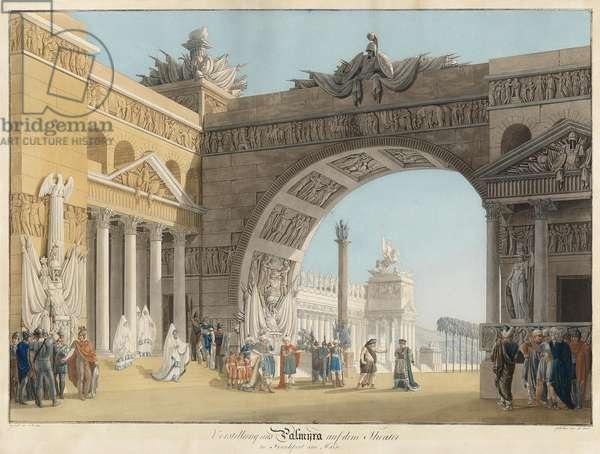Stage design for the opera Palmira, regina di Persia by Antonio Salieri - Radl, Anton (1774-1852) - First quarter of 19th cen. - Etching, watercolour - 51,3x73,4 - Private Collection