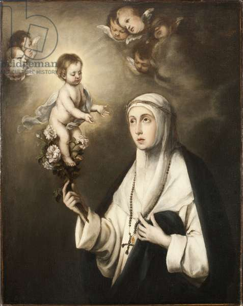 Rose de Lima (Isabel Flores de Oliva) (1586-1617) - Saint Rose of Lima, by Murillo, Bartolome Esteban, Copy after . Oil on canvas. Dimension : 93x76 cm. Nationalmuseum Stockholm