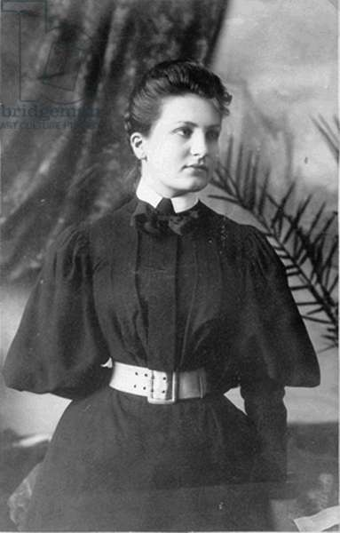 Alma Schindler (1879-1964), Austrian composer, who became the wife of Gustav Mahler, Walter Gropius and Franz Werfel, 1898 (b/w photo)