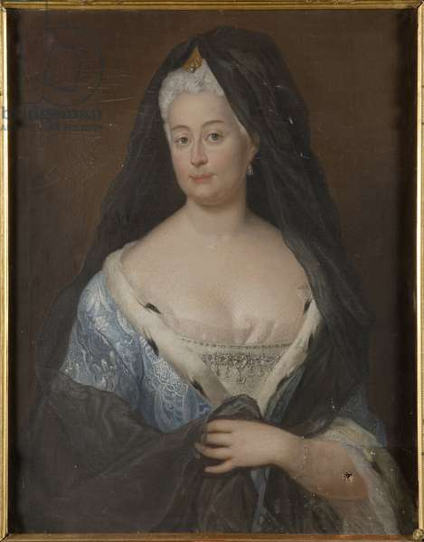 Princesse Jeanne Charlotte d'Anhalt Dessau, margravine de Brandebourg Schwedt - Portrait of Princess Johanna Charlotte of Anhalt-Dessau (1682-1750), Margravine of Brandenburg-Schwedt, Anonymous . Oil on canvas, 1724. Dimension : 980x65 cm. Nationalmuseum Stockholm