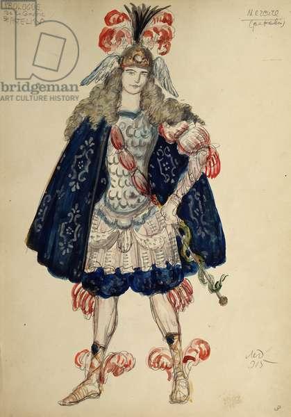 "Costume design for the play ""L'Avocat Patelin"" by David Augustin de Brueys and Jean de Palaprat, 1915 (w/c, gouache & gold on paper)"