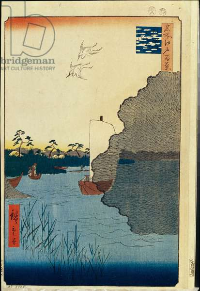 Cent vues celebres d'Edo : Scattered Pines on the Tone River (One Hundred Famous Views of Edo) - Hiroshige, Utagawa (1797-1858) - 1856-1858 - Colour woodcut - State Hermitage, St. Petersburg