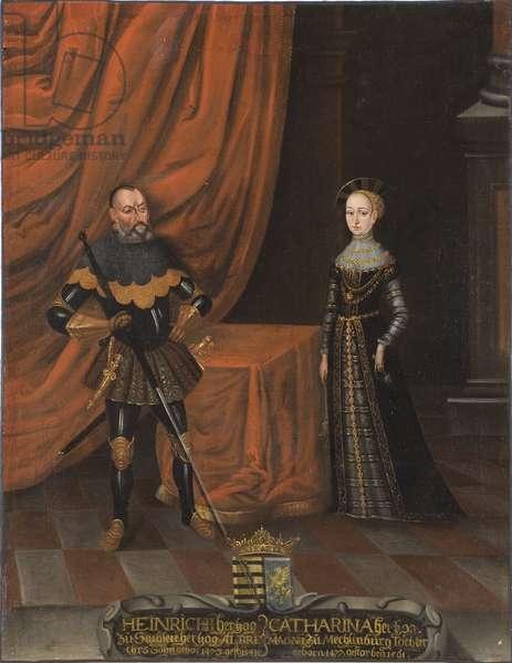 Henri IV de Saxe, dit le Pieux et Catherine de Mecklembourg - Duke Henry the Pious (1473-1541) and Duchess Catherine of Mecklenburg (1487-1561), Anonymous . Oil on canvas. Dimension : 101,5x79 cm. Nationalmuseum Stockholm