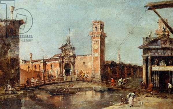 """""""""""L'entree de l'arsenal de Venise"""""""" (The Entrance to the Arsenal in Venice) Peinture de Francesco Guardi (1712-1793) - apres 1776 - Oil on canvas Dim 29x45 cm Art History Museum, Vienne"""