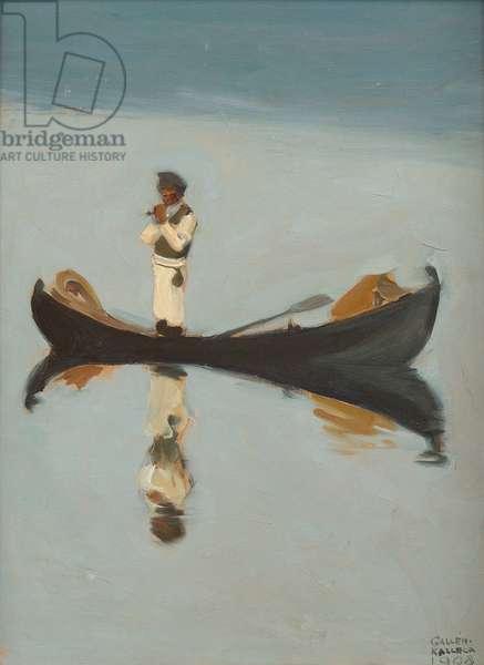 Man fishing par Gallen-Kallela, Akseli (1865-1931), 1908 - Oil on canvas, 50x37 - Private Collection