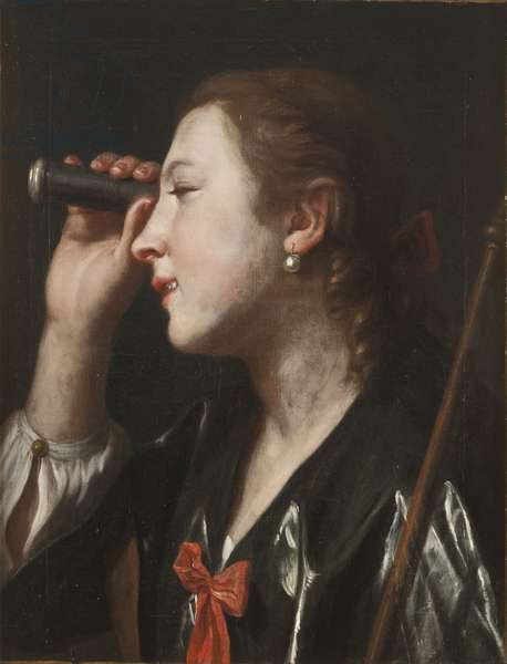 Girl Looking through a Telescope (oil on canvas)