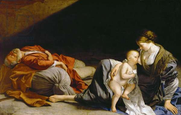 Le repos pendant la fuite en Egypte - The Rest on the Flight into Egypt - Orazio Gentileschi (1563-1638). Oil on canvas, ca 1625. Dimension : 138,5x216 cm. Art History Museum, Vienne
