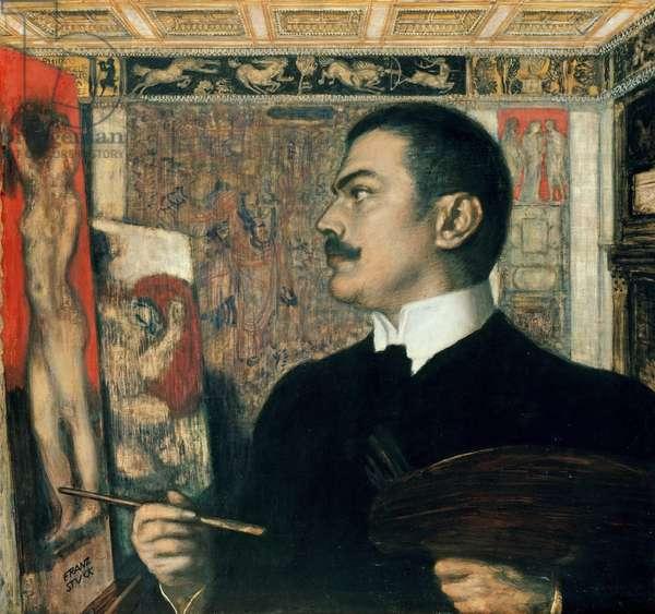 """""""""""Autoportrait dans l'atelier"""""""" (Self-portrait in the Studio) Peinture de Franz von Ritter Stuck (1863-1928) 1905  Staatliche Museen, Berlin"""