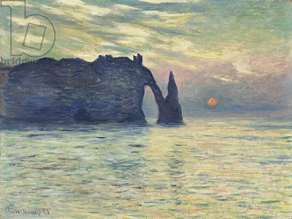 The Cliff, Etretat, Sunset par Monet, Claude (1840-1926), 1882-1883 - Oil on canvas, 60,5x81,8 - Fine Art Museum of North Carolina