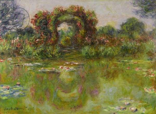"""""""""""Bassin aux Nympheas, les Rosiers"""""""" Peinture de Claude Monet (1840-1926), 1913 - Oil on canvas Dim 73x100 cm Private Collection"""