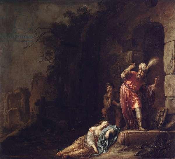 """""""""""Le levite d'Ephraim"""""""" Le levite decouvre le corps inanime de son aimee violentee par des bandits (Death of the Levite's Concubine) Peinture de Willem Bartsius (Bartius)(1612-1657), 1638 - Oil on canvas Dim 100,5x110 cm State Hermitage, St Petersburg"""