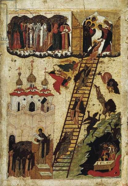 """""""""""L'echelle du paradis de saint Jean Climaque"""""""" (Echelle sainte de saint Jean le sinaitique) Elle represente les moines atteignant le sommet de l'echelle et ceux tombant dans les enfers - icone russe du debut du 16eme siecle State Russian Museum, saint Petersbourg"""