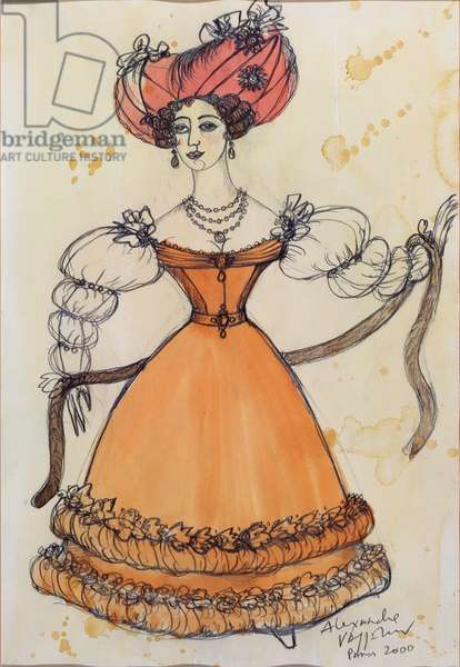 Costume design for a lady, from Tchaikovsky's ballet 'The Nutcracker', 2000 (w/c & gouache on paper)