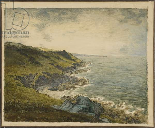 La cote a Greville (Greville Hague) - Coast at Greville, by Millet, Jean Francois (1814-1875). Oil on canvas. Dimension : 60x73 cm. Nationalmuseum Stockholm