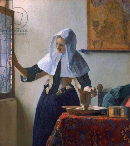 """""""""""Jeune femme au pichet d'eau"""""""" (Young Woman with a Water Pitcher) Peinture de Jan (Johannes) Vermeer (1632-1675) - ca 1664 - Oil on canvas Dim 45,7x40,6 cm Metropolitan Museum of Art, New York"""