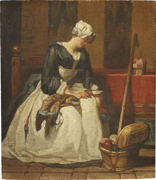La brodeuse - The Embroideress, by Chardin, Jean Baptiste Simeon (1699-1779). Oil on wood. Dimension : 19x16,5 cm. Nationalmuseum Stockholm