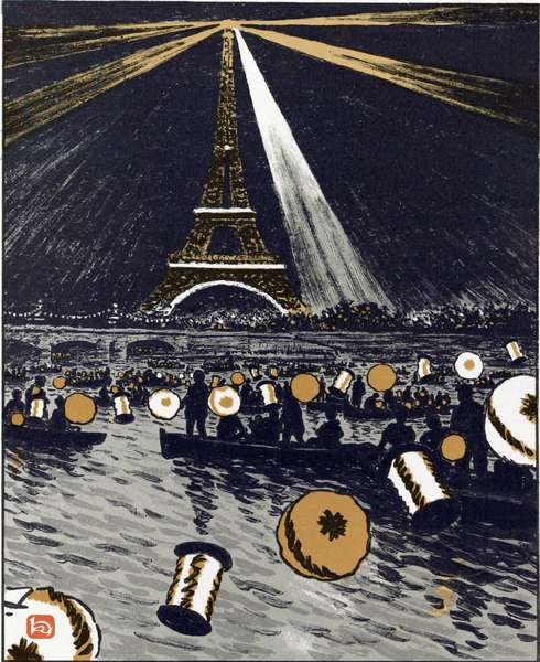 Festivities on the Seine, July 14 (From Thirty-Six Views of the Eiffel Tower), 1902 (lithograph)