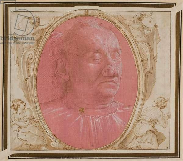 Visage d'un vieil homme - Head of an Old Man - Ghirlandaio, Domenico (1449-1494) - c. 1490 - Pen, brush, watercolour, Indian ink on paper - 28,8x21,4 - Nationalmuseum Stockholm