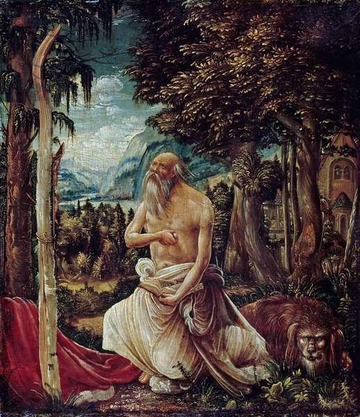 """""""""""Saint Jerome penitent"""""""" (The Repentant Saint Jerome) Peinture d'Albrecht Altdorfer (c 1480-1538), 1507 - Oil on wood, 23,5x20,4 - Staatliche Museen, Berlin"""