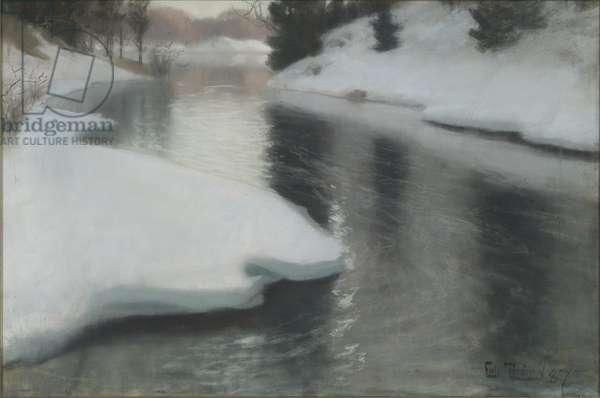 Spring Thaw, by Thaulov, Fritz (1847-1906). Pastel on canvas, 1887. Dimension : 48x73 cm. Nationalmuseum Stockholm