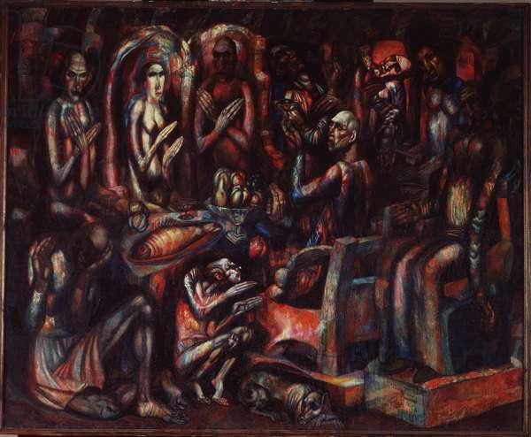 """""""""""La Fete des Rois"""""""" (Feast of the Kings) Peinture de Pavel Nikolayevich Filonov (1883-1941) 1913 State Russian Museum, Saint Petersbourg"""