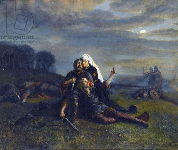 Bataille de Stiklestad (29 juillet 1030) - After the Battle - par Peter Nicolai Arbo (1831-1892), - Oil on canvas, 51x61,5 - Private Collection