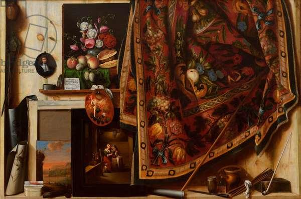 """""""""""Trompe l'oeil, atelier de l'artiste"""""""" (Trompe l'oeil A Cabinet in the Artist's Studio) Peinture de Cornelis Norbertus Gijsbrechts (Gysbrechts) (avant 1657-apres 1675) 1671 Oil on canvas Dim 132x199 cm Statens Museum for Kunst, Copenhagen"""