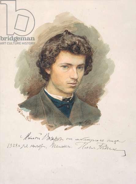 Self-Portrait - Repin, Ilya Yefimovich (1844-1930) - 1866 - Watercolour on paper - 35x26 - Private Collection