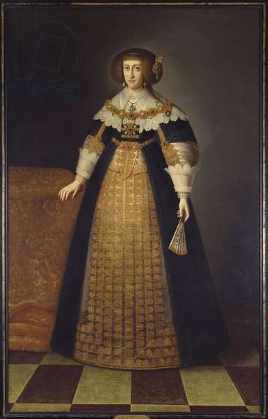 L'archiduchesse Cecile Renee d'Autriche - Portrait of Archduchess Cecilia Renata of Austria (1611-1644), Queen of Poland, Anonymous . Oil on canvas. Dimension : 218x138 cm. Nationalmuseum Stockholm