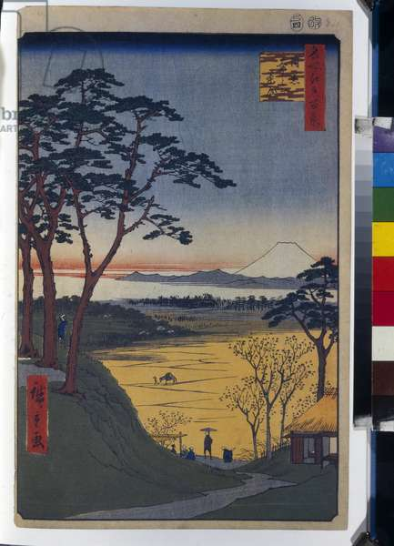 Cent vues celebres d'Edo : Grandpa's Teahouse in Meguro (One Hundred Famous Views of Edo) - Hiroshige, Utagawa (1797-1858) - 1856-1858 - Colour woodcut - State Hermitage, St. Petersburg