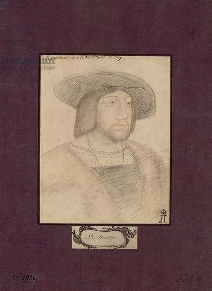 Portrait of Odet de Foix, Vicomte de Lautrec (1485-1528) dit marechal de Lautrec - Anonymous. Colour pencils on paper, size : 22,5x17,2, c. 1546, State Hermitage, St. Petersburg