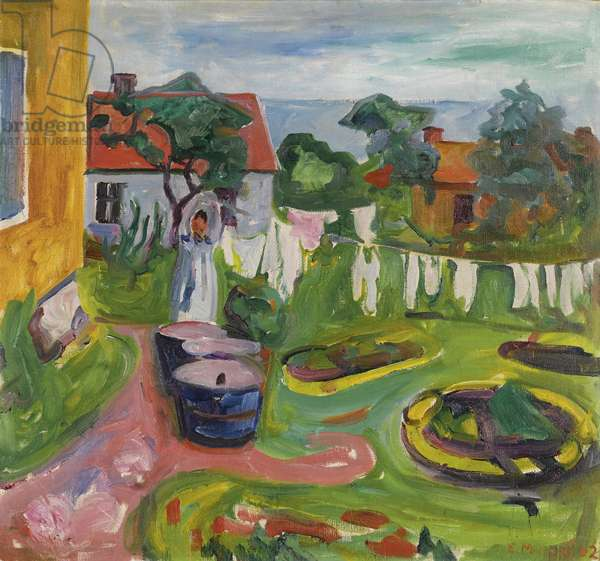 Clothes On A Line In Asgardstrand par Munch, Edvard (1863-1944), 1902 - Oil on canvas, 67,5x72,5 - Private Collection