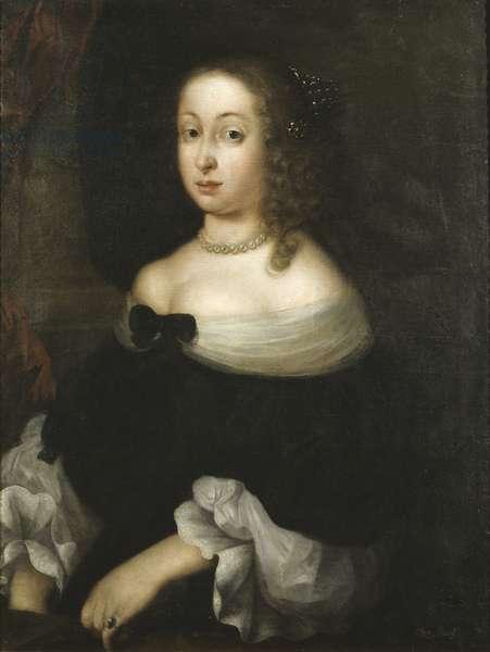 Princesse Hedwige Eleonore de Holstein Gottorp, reine consort de Suede - Portrait of Hedvig Eleonora of Holstein-Gottorp (1636-1715), Queen of Sweden, by Vallari, Nicolas (active 1646-1673). Oil on canvas. Dimension : 86x65 cm. Nationalmuseum Stockholm
