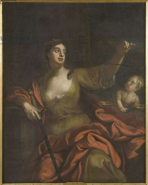 Equite (Justice) - Aequitas, by Schroder, Georg Engelhard (George Engelhardt) (1684-1750). Oil on canvas. Dimension : 154x123 cm. Nationalmuseum Stockholm