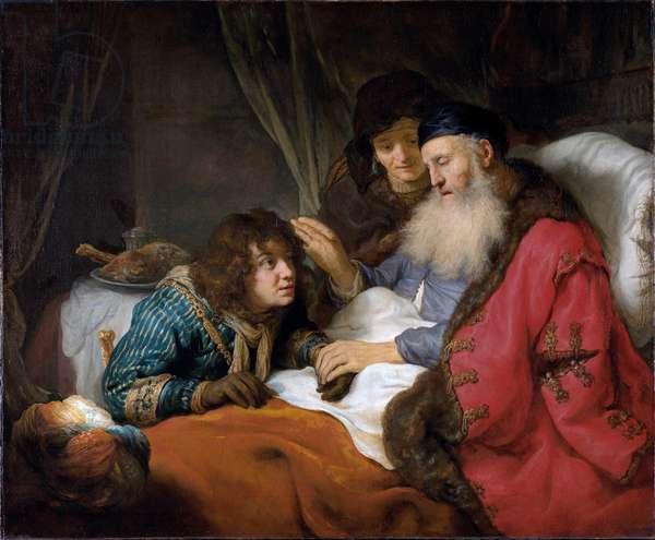 """""Iaaac benissant Jacob"""" (Isaac blessing Jacob) Peinture de Govaert Flinck (1615-1660) - 1638 - Oil on canvas - Dim 117x141 cm Rijksmuseum, Amsterdam"