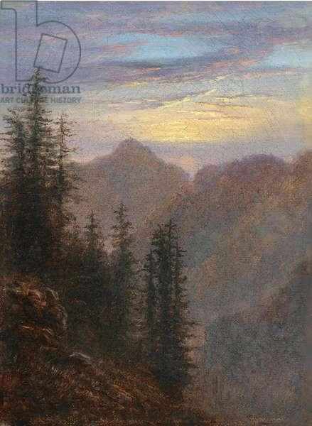 """""""""""Paysage de montagne au crepuscule"""""""" (Mountain landscape at dusk) Peinture de Carl Gustav Carus (1789-1869) 19eme siecle Oil on canvas Dim 20,6x15,1 cm Collection privee"""