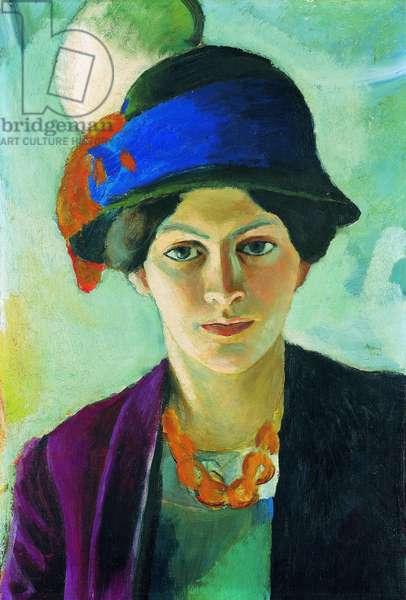 """""""""""Portrait de la femme de l'artiste avec un chapeau"""""""" (Artist's Wife with Hat) Peinture d'August Macke (1887-1914), 1909 - Oil on canvas, 49,7x34 - Private Collection"""