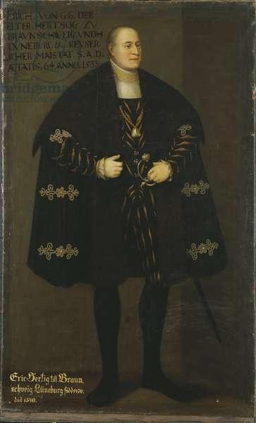 Eric I de Brunswick Calenberg Gottingen, dit l'Ancien - Portrait of Duke Eric I of Brunswick-Lueneburg (1470-1540), Prince of Calenberg-Goettingen, by Frumerie, David (1641-1677). Oil on canvas, 1667. Dimension : 195x119 cm. Nationalmuseum Stockholm