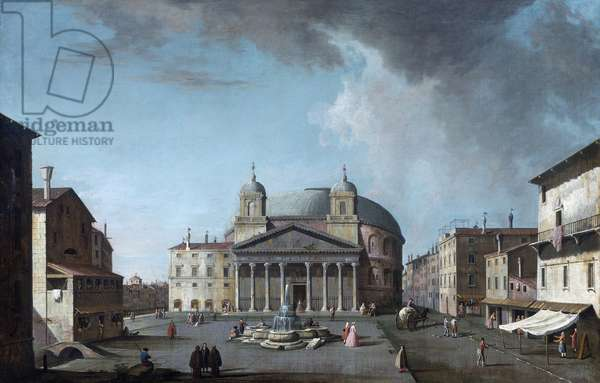 View of the Pantheon in Rome par Fabris, Jacopo (1689-1761). Oil on canvas, size : 73x112,4, , Private Collection