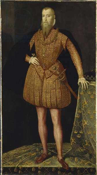 Eric XIV  roi de Suede -  Portrait of the King Eric XIV of Sweden (1533-1577) par Meulen, Steven van der (active 1543-1564), 1561 - Oil on wood - Nationalmuseum Stockholm
